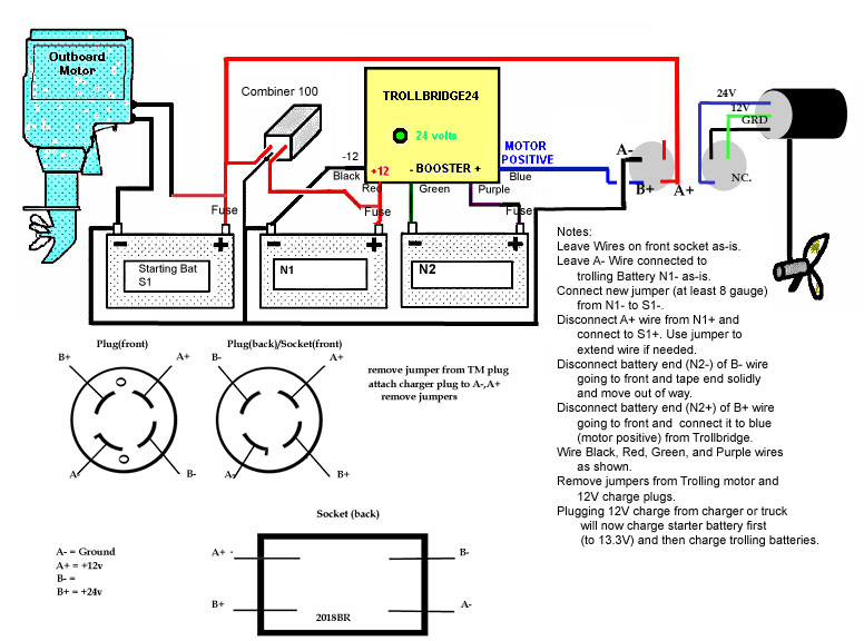 trollbridge24 information 24 volt trolling motor battery charger at 24 Volt Onboard Charger Wiring Diagram